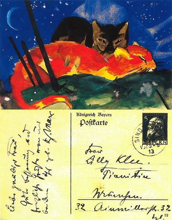 Two Cats, sent to Lily Klee in Munich, 6 March 1913.