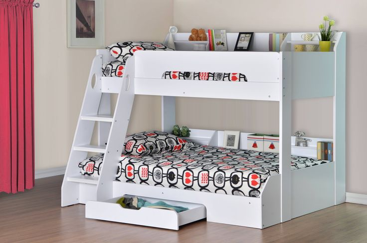 The Flick Triple Sleeper consists of a stylish white finish, providing a modern, contemporary feel. Whilst looking great in your childs bedroom, this bed frame is also extremely practical and brilliant storage solution, with handy shelving on both bunks combined with a spacious underbed drawer.  The bottom bunk is a standard UK Small double (120x190cm) whilst the top is a standard Single (90x190cm) making this bed frame ideal for sleepovers..