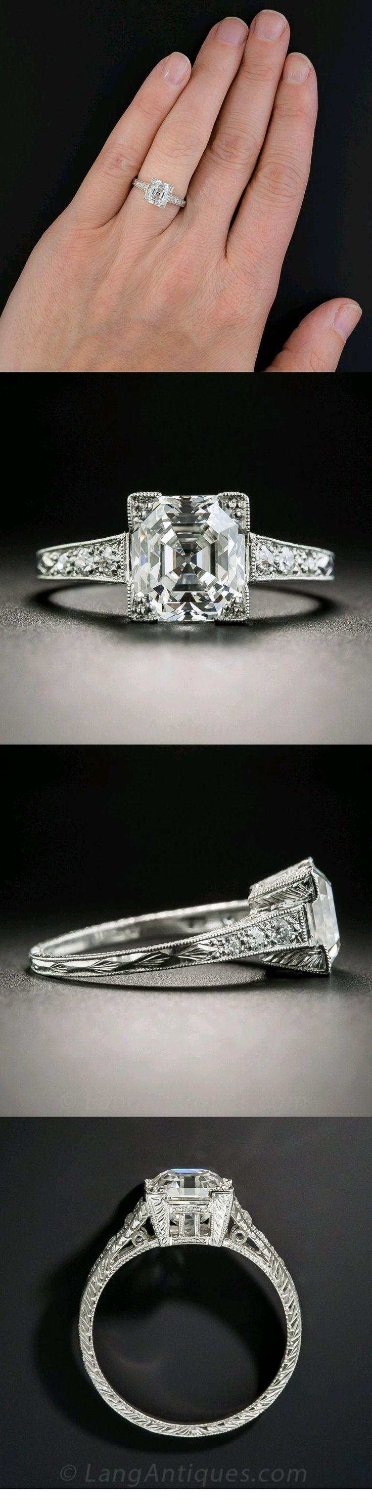 Die besten 25 Asscher cut diamond ring Ideen auf Pinterest