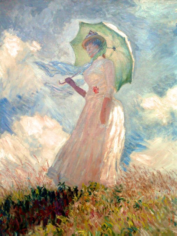 In addition to his nature works, I love Monet's paintings of women with parasols... The way he captures the sunlight and wind movement is amazing!