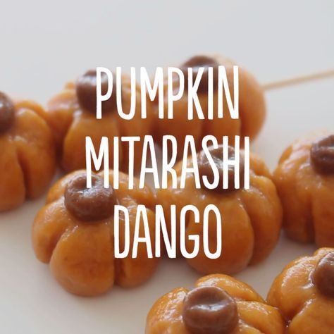 Mitarashi dango are soft, squishy rice balls skewered onto a stick and coated in a sweet soy sauce glaze. Today we're putting a little twist on them by making them look and taste like pumpkins!