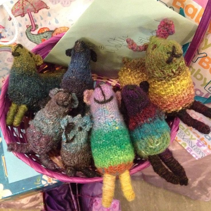 """""""Just one of the many wonderful gifts for Miko last night! These #noro #sheep are all made using @susanbanderson 's Noro Sheep pattern! Thanks to everyone…"""""""