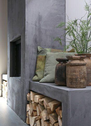 Concrete fireplace |