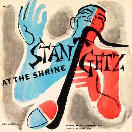 Stan Getz, At the Shrine, LP cover (1955)  Cover art: David Stone Martin  Source: Taringa