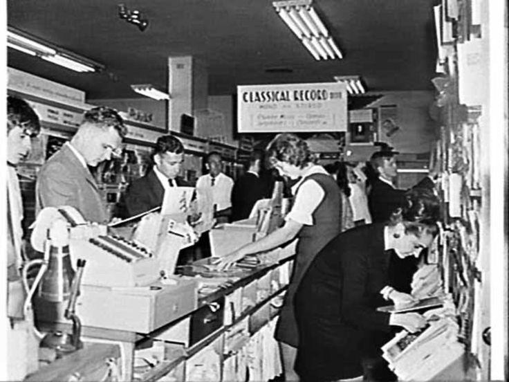 Interior,Record Bar. Edels Electrical shop, Sydney 1964 Australia