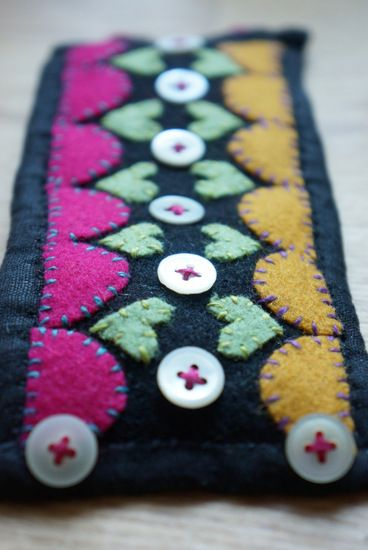 woolen embroidery and buttons, bracelet
