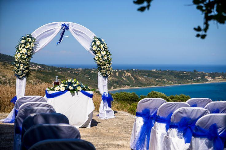Everything is ready for the wedding  - beautiful set up in blue #chapelwedding #weddingingreece #mythosweddings #kefalonia