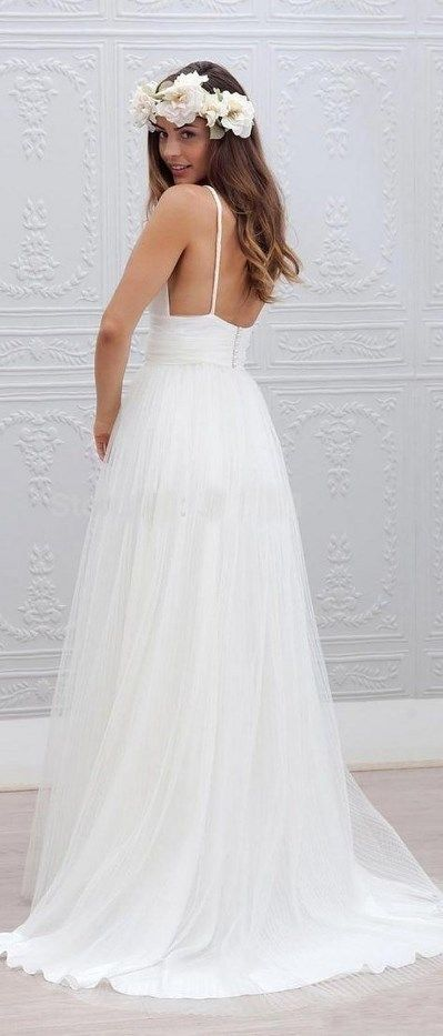 Cute Spaghetti Straps wedding dress, perfect for a beach or garden wedding. More at http://www.cutedresses.co/product/spaghetti-straps-bridal-gown-garden-wedding-beach-style/