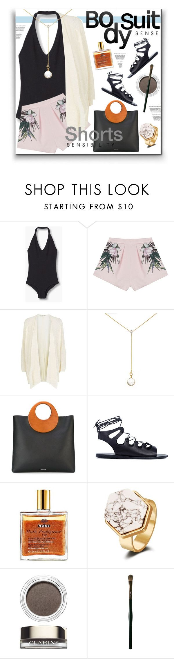 """Bodysuit"" by watereverysunday on Polyvore featuring MANGO, Style Stalker, Damsel in a Dress, Renee Lewis, Michael Kors, Ancient Greek Sandals, Nuxe, Clarins, Shiseido and shorts"