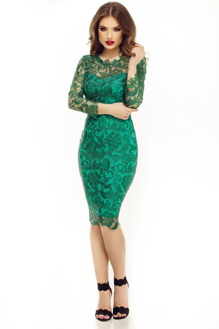 Awesome midi emerald lace dress for special occasions