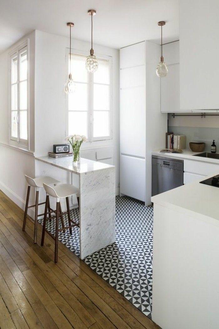 Kleine Küche Einrichten Weiße Küchenschränke Stauraum Ideen Schöner  Bodenbelag
