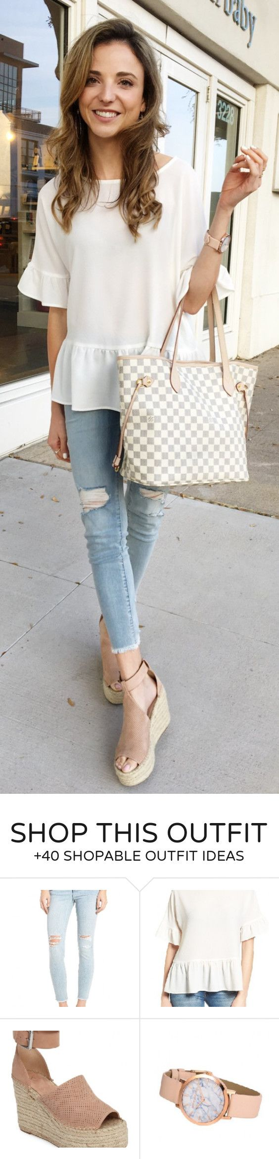 #spring #fashion / White Top / White Checked Tote Bag / Ripped Skinny Jeans / Beige Platform Pumps