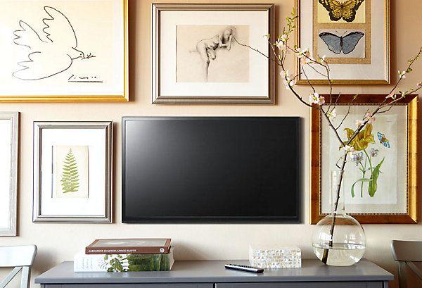 incorporate TV into wall galleryDecor, Wall Art, Tv Wall, Gallery Walls, Living Room, Art Display, Tvs, Art Wall, Wall Gallery