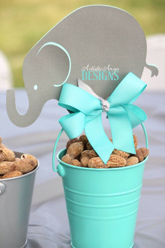 Elephant Centerpiece Toppers - Elephant Baby Shower or Birthday - Turquoise and Gray