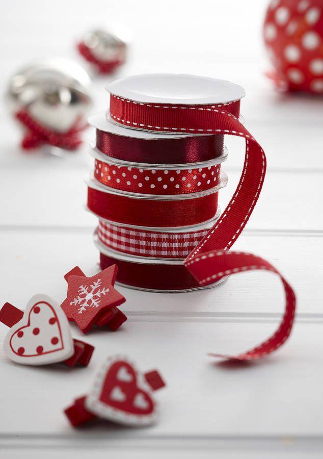 Red/Burgundy Gift Wrap Ribbon - Set Of Six