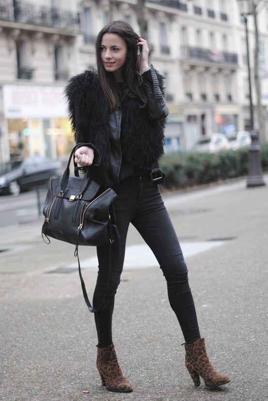 Perfect bag/Black/Leopard boots. . .