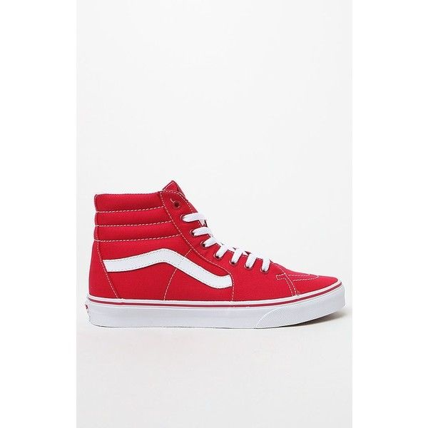 Vans Canvas Sk8-Hi Red Shoes ($60) ❤ liked on Polyvore featuring shoes, sneakers, hi top canvas sneakers, vans high tops, red trainers, canvas high tops and red shoes