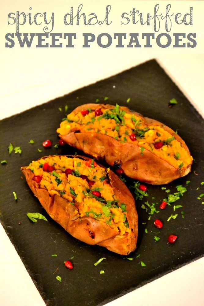 Spicy Dhal-stuffed Sweet Potatoes. A speedy, 4-ingredient weeknight supper. http://www.thevegspace.co.uk/recipe-spicy-dhal-stuffed-sweet-potatoes/