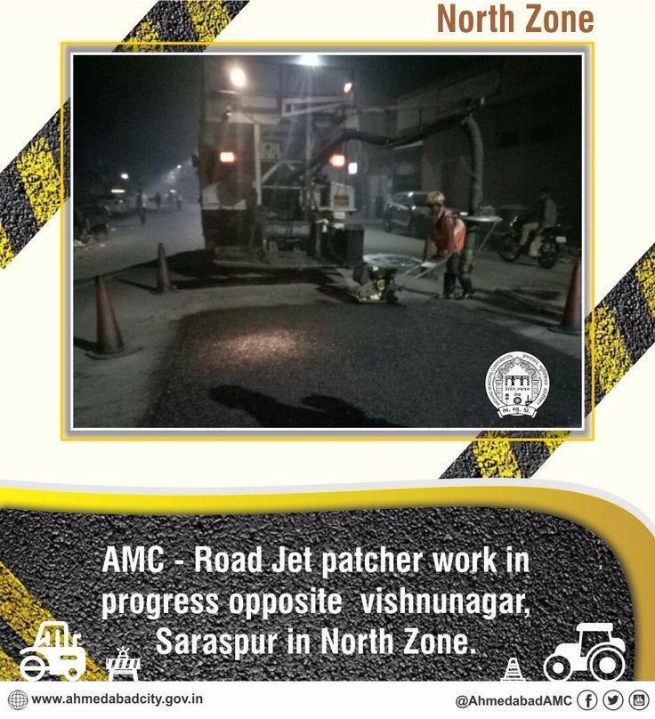 Road Jet patcher work in progress opposite Vishnunagar Saraspur in North Zone.  #Ahmedabad  #AMC