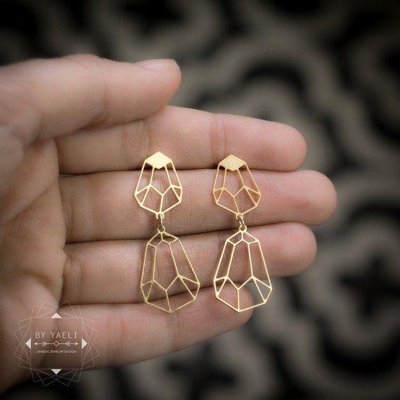 Geometric diamond shape stud earrings, dangle diamond earrings
