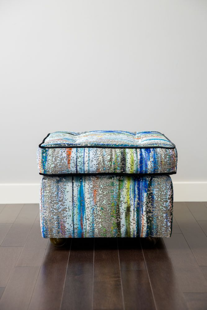 Mad Men – Reupholstered Vintage Ottoman in Fabricut Velvet Designer Fabric.  Will ship to US.