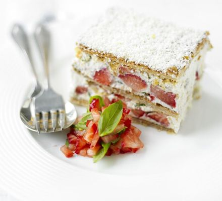 This millefeuille from Gordon Ramsay looks great, and you can just imagine that basil and summer fruits is actually an amazing combination! Bear in mind, white chocolate contains milk, so for greater certainty of higher welfare, buy organic white chocolate, that uses organic milk :)