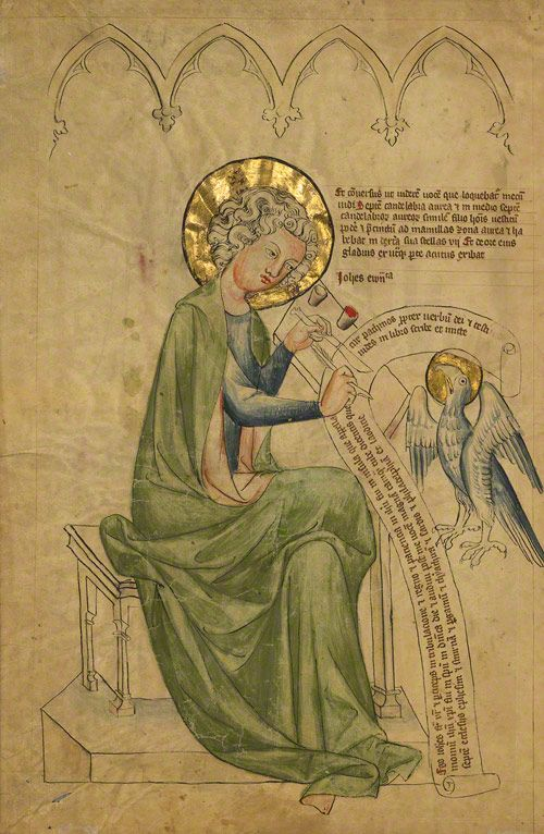 Saint John the Evangelist Writing, German, about 1340–50. The J. Paul Getty Museum, Ms. 108, verso.