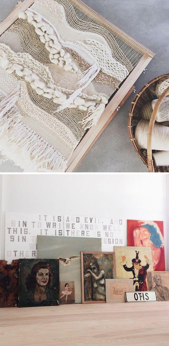 Vintage and handmade art neutral, texture, plus and minus