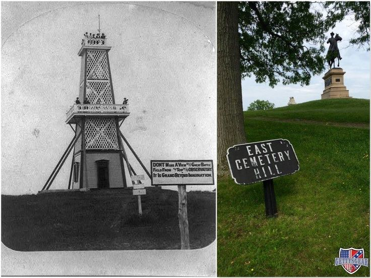 For a brief period of time, an observation tower loomed over East Cemetery Hill. During the 1880s, veterans often congregated here for reunions. In 1896, the equestrian statue of General Winfield S. Hancock took the place of the observation tower. What a view it must have been!