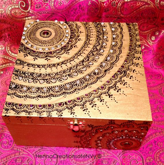Henna/Mendhi inspired Gold Mandala Keepsake Jewelry Box with