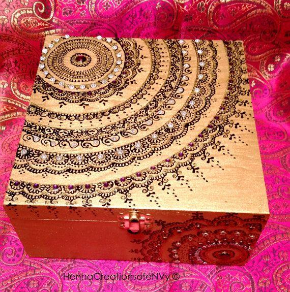 Henna/Mendhi inspired Gold Mandala Keepsake Jewelry Box with Gem Stones
