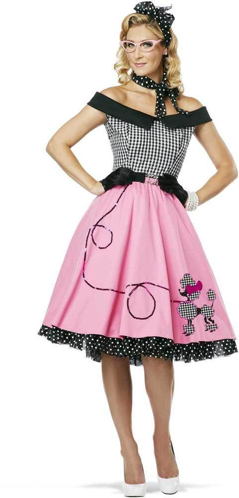 5951614963bf2 Womens 50's Style Cute Poodle Skirt Grease Halloween Outfit Dance Dress  Costume