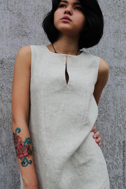 Купить или заказать Платье льняное из серии 'Камни'. Платье из приятного 'суховатого' льна с очень интересной фактурой.