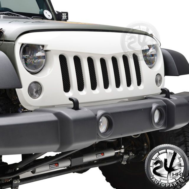Front White Angry Bird Grille W/Stainless Steel Mesh for 07-17 Jeep Wrangler JK