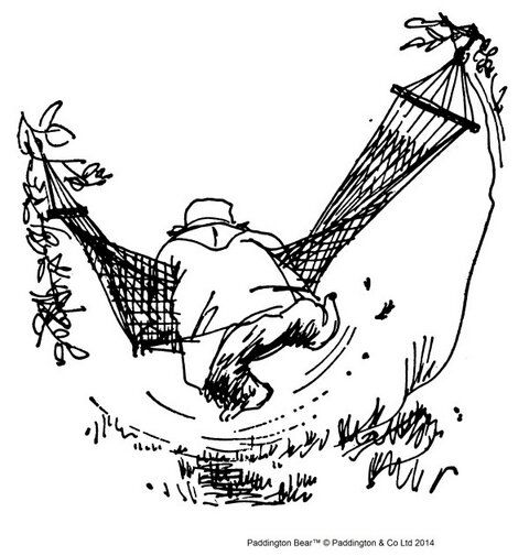 'But it was when he actually tried to climb into it that his troubles really began, for he soon discovered that looking at a hammock is one thing; getting into one is quite another matter.'  From 'Paddington Takes the Test' by Michael Bond