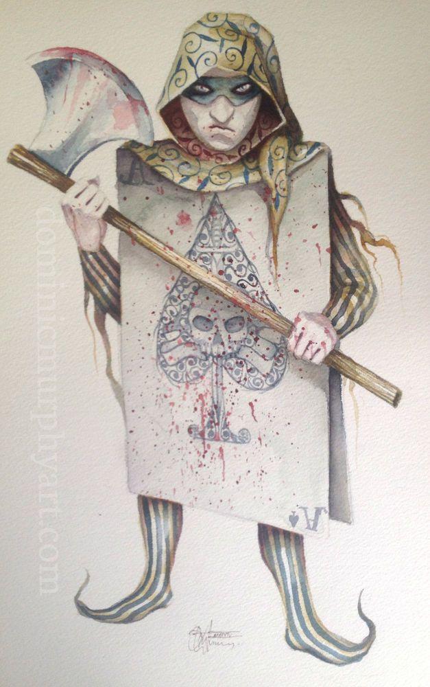 Original Watercolour Painting Dominic Murphy Art Alice in Wonderland Executioner