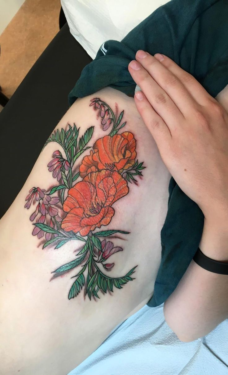 Route 66 tattoo picture at checkoutmyink com - California Poppies And Purple Lupines Tattoo By Cecelia Wingate At Seventh Son Tattoo In San