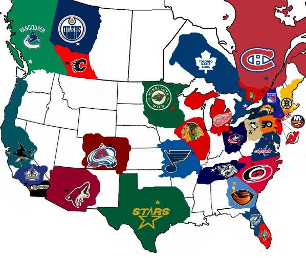 Map of NHL Team fanbases.