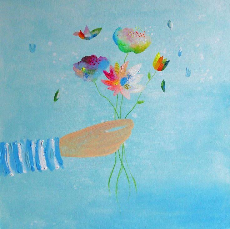 Summer+Love+.+Jednoduchý+obrázek+inspirovaný+sluncem,+mořem+a+letní+přírodou...+.+Malba+na+plátně+akrylovými+barvami,+originál.+.+Rozměr+40+x+40+cm.Plátno+je+natažené+na+rámu,+lze+ho+pověsit+rovnou+na+zeď.+(Osobní+převzetí+možné)+.