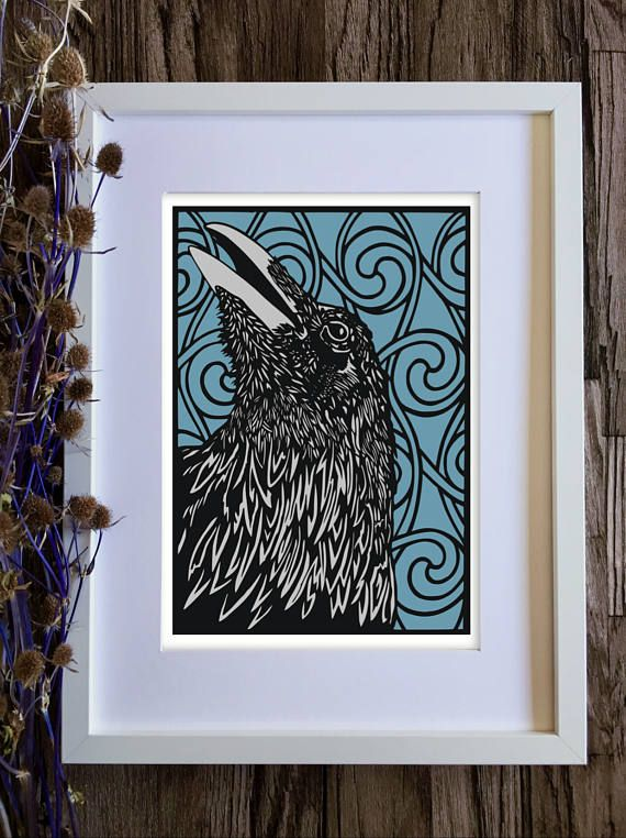 Raven art print on a blue teal background with Celtic art