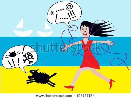 angry woman with running dog on the beach