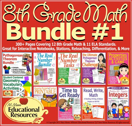 Save $$$! 8th Grade Math - Bundle #1 - Start your Math Units with these Engaging visual math tasks and activities to teach your 8th grade math curriculum or as a review with 9th Grade math students! Perfect for Interactive Notebooks, Stations, Cooperative Learning, Differentiation, & MORE!