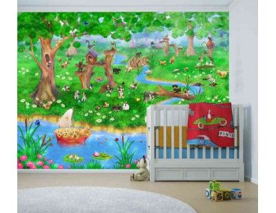 """""""Pet Paradise"""". A wallpaper mural from Muralunique.com. This is an original painting from Birgit Schulz. https://www.muralunique.com/pet-paradise-105-x-8-320m-x-244m.html"""