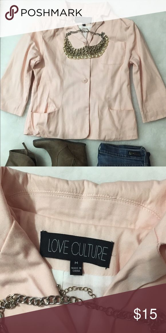 Cotton light pink blazer Love culture, 3/4 sleeves. Lightweight perfect for business wear or to wear casual. Runs small. Love Culture Jackets & Coats Blazers
