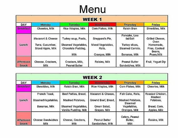 daycare meal plan