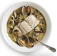 Braised halibut with leeks mushrooms and clams
