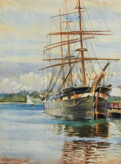 'Ship in Port (Pictou, N.S.)' by Alexander Young Jackson at Consignor.ca
