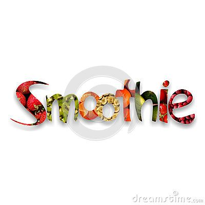 #Colorful #smoothie word with shadow and letters full of #fruity textures: #strawberries, chopped kiwi, #orange pieces, #banana slices, mandarins, #limes, cherries and #raspberries, on white background