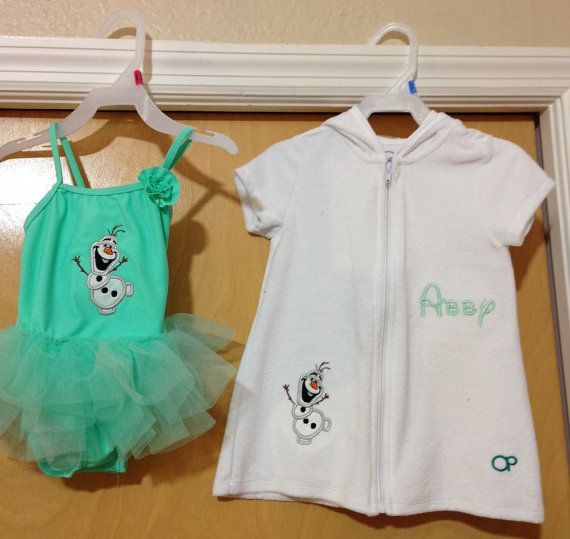 Frozen inspired Olaf tutu bathing suit and cover up in green and white on Etsy, $59.99