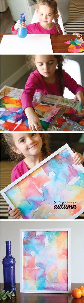 Celebrate the closeness of spring with this rainbow-colored craft idea. Tissue Transfer Art is a simple way to get your child crafting on her own. Cover the workspace with Bounty Paper Towels to keep your table from turning into a canvas and get creative!